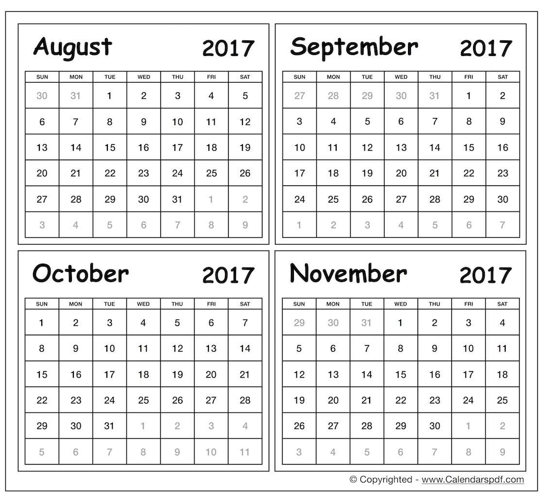 Blank August To November 2017 Calendar Printable Template Free3abry