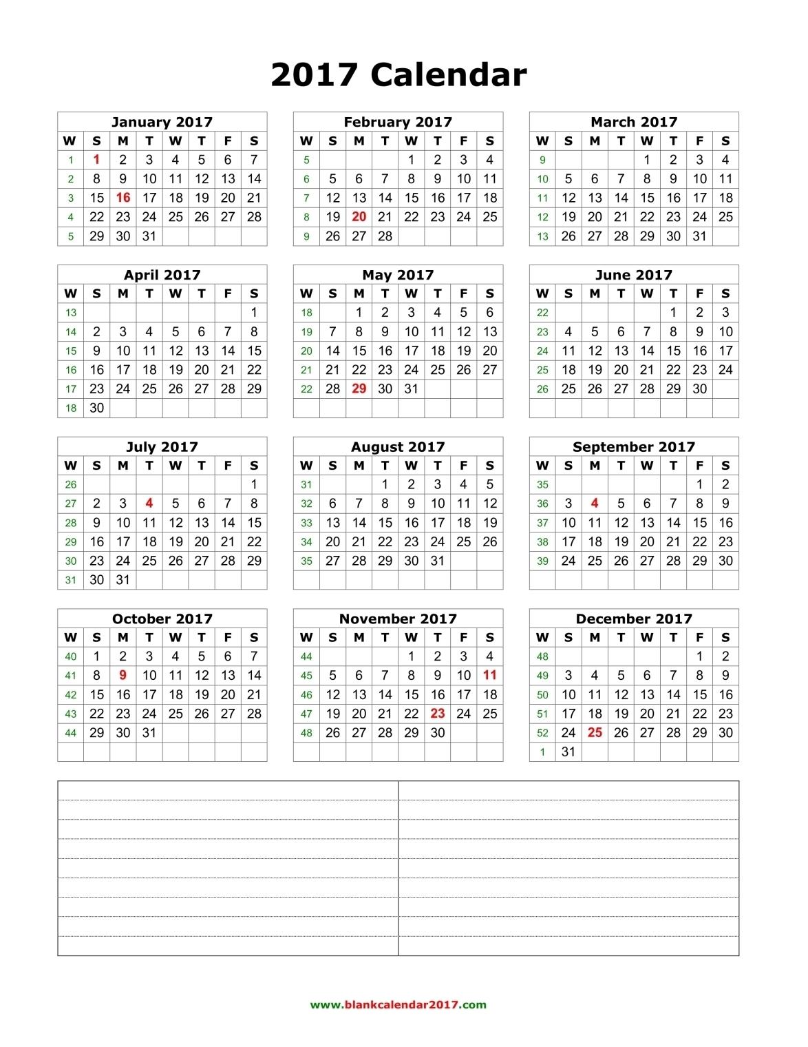 Blank Calendar 20173abry