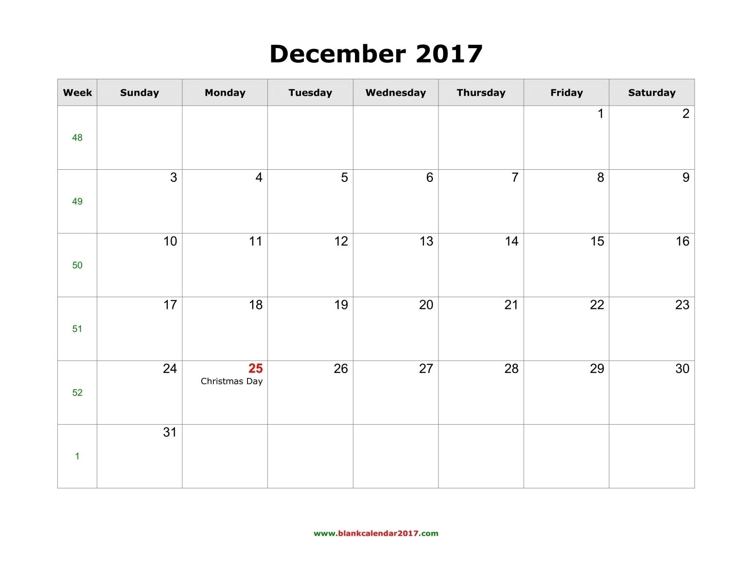 Blank Calendar For December 20173abry