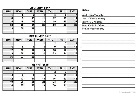 Calendar 3 Months Per Page Calendar Picture Templates