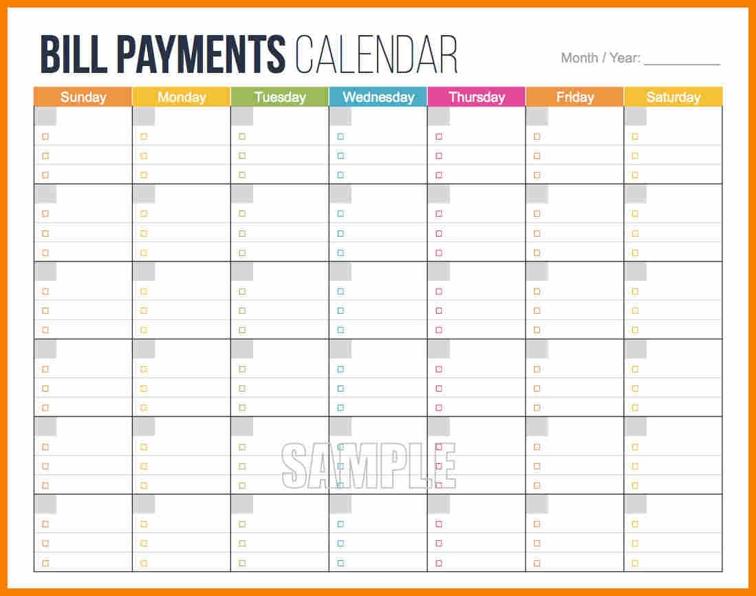 Calendar Bills Free Printable Template Calendar Template Gallery3abry
