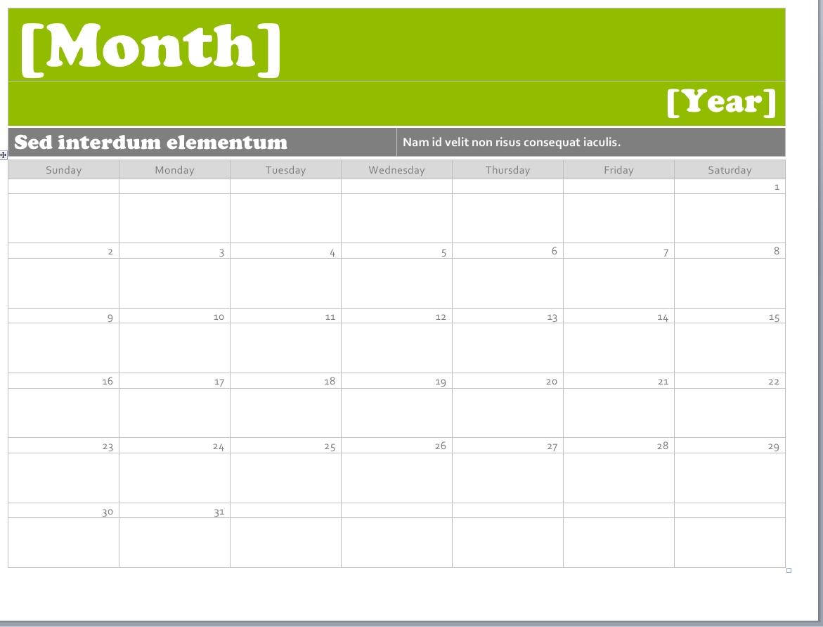 Calendar Template For Word 2010 Hatchurbanskriptco3abry