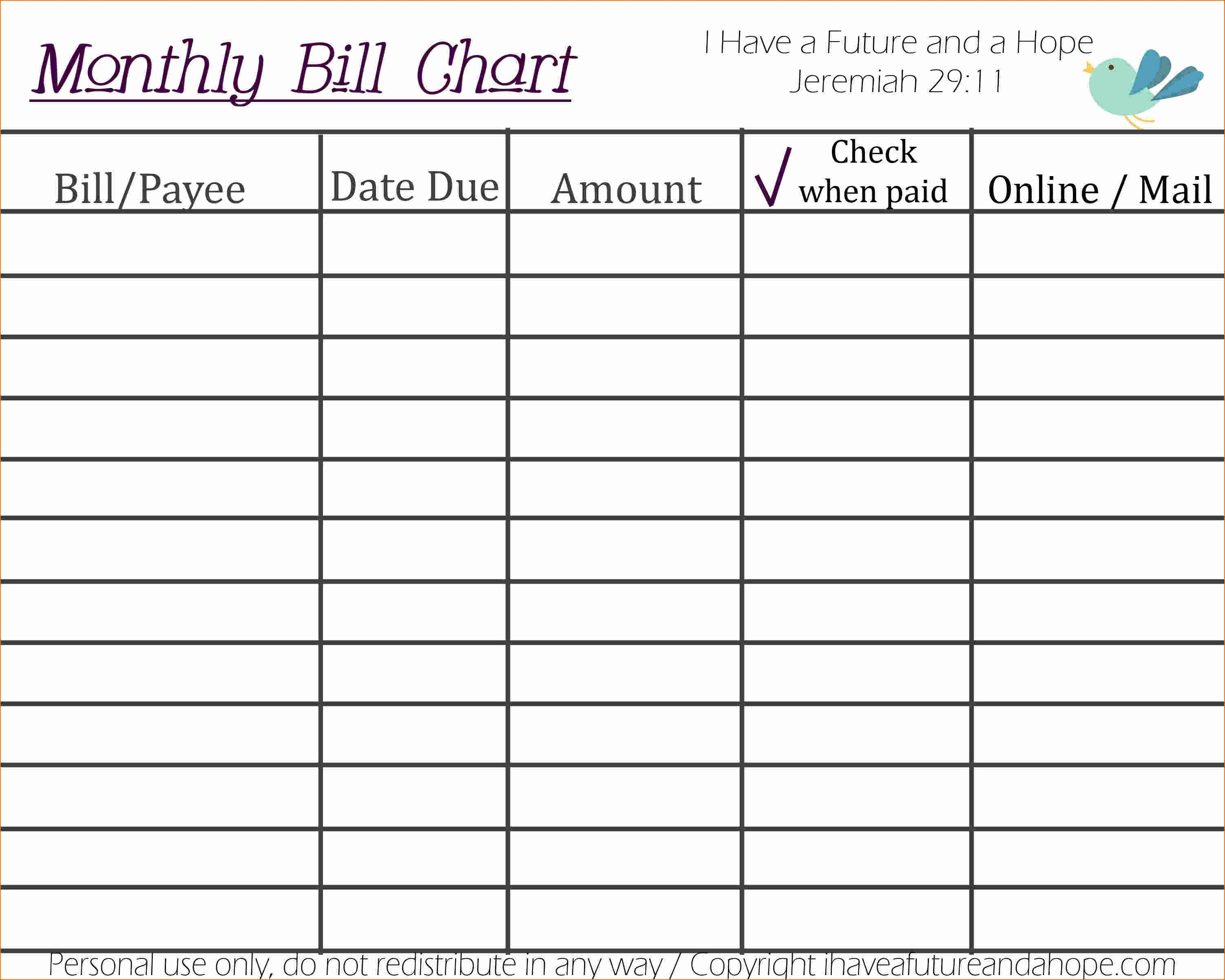 Excel Bill Template Free Monthly Organizer Spreadsheet For Numbers3abry