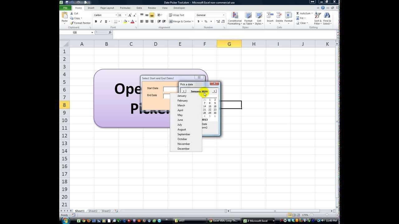 Excel Vba Userforms 24 Calendar Date Picker Tool Teaser Demo 89uj