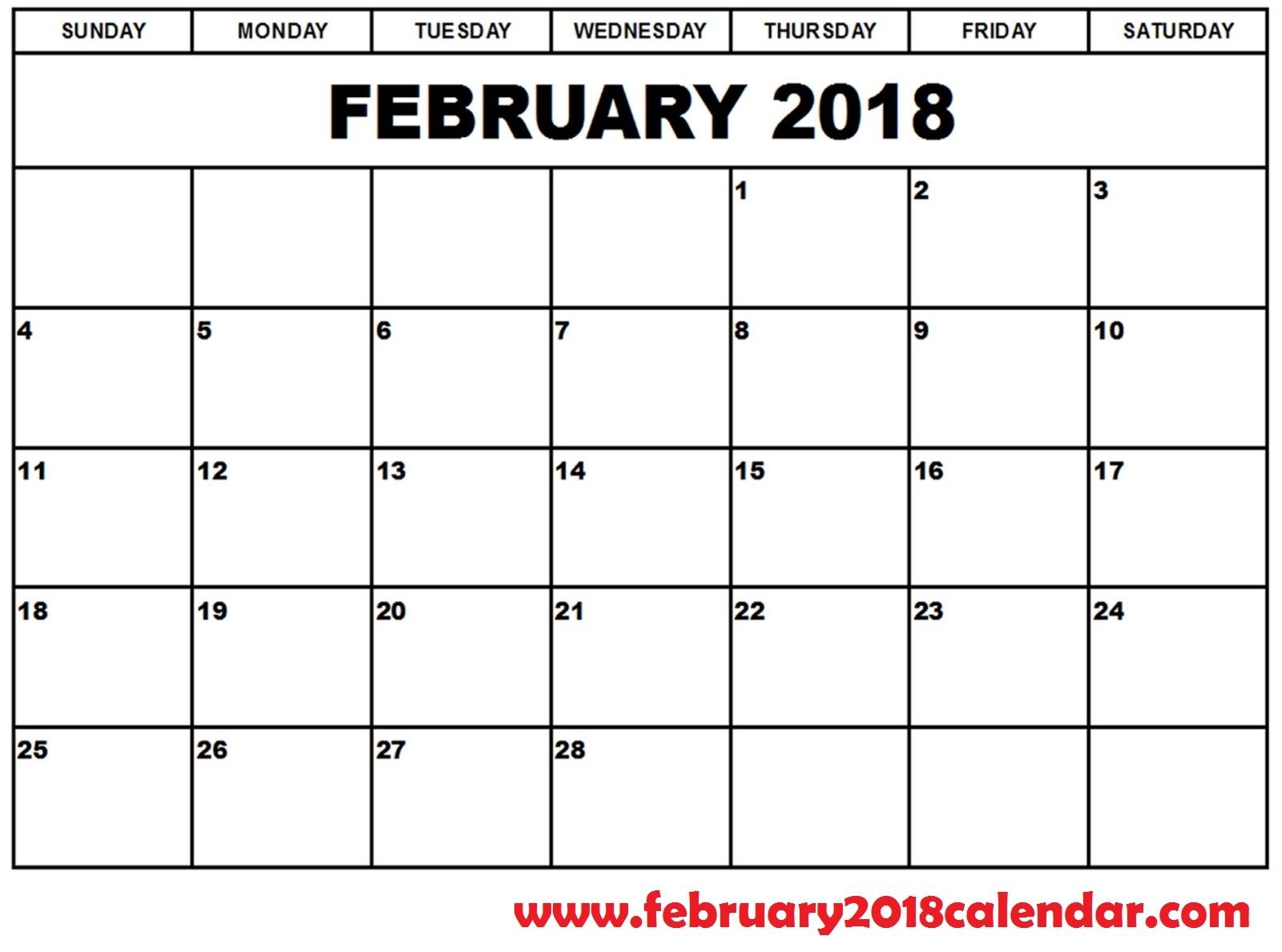 February 2018 Calendar Printable Template Pdf With Holidays Usa Uk  Xjb