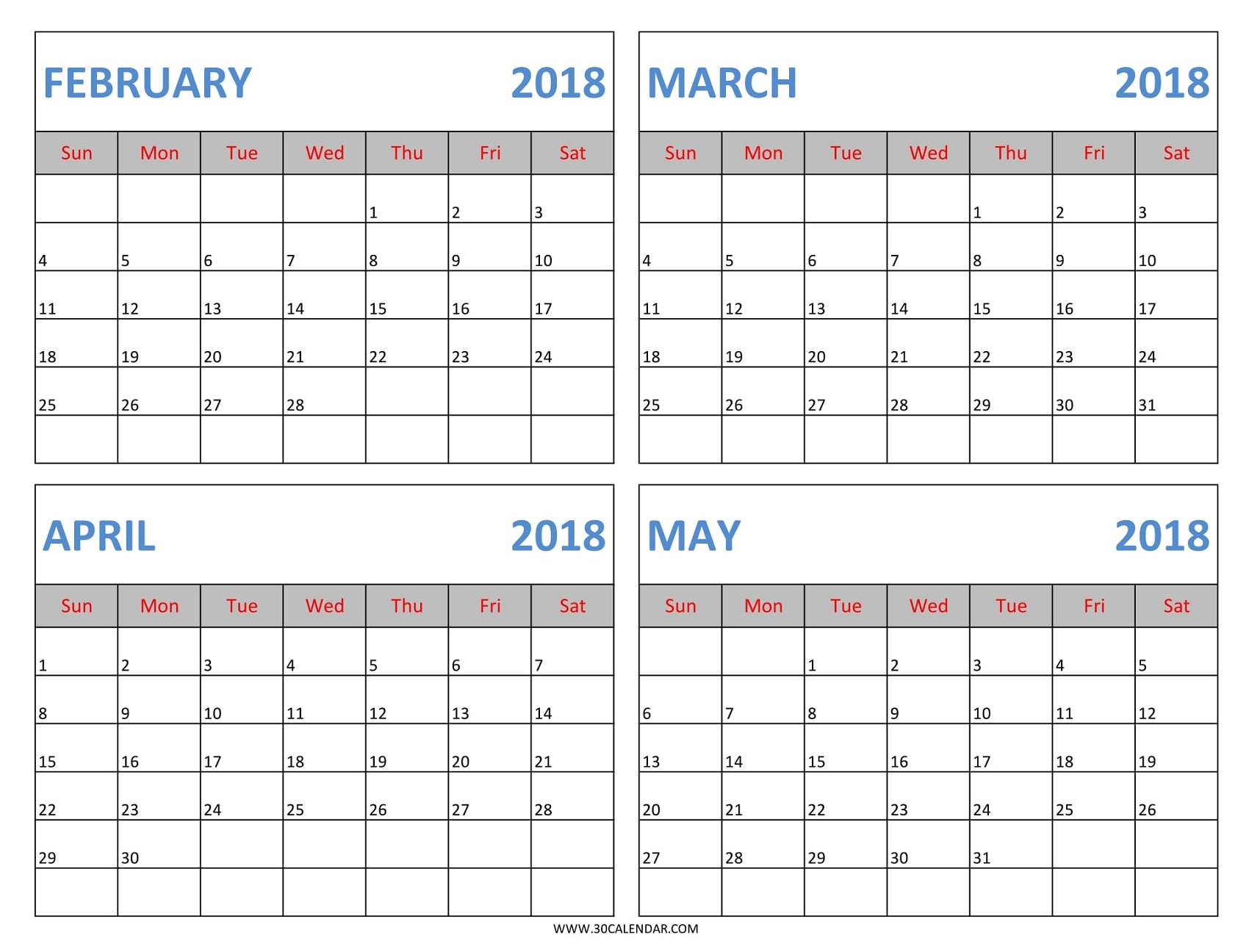 February To May 2018 Calendar Printable 4 Month 2018 Calendar3abry