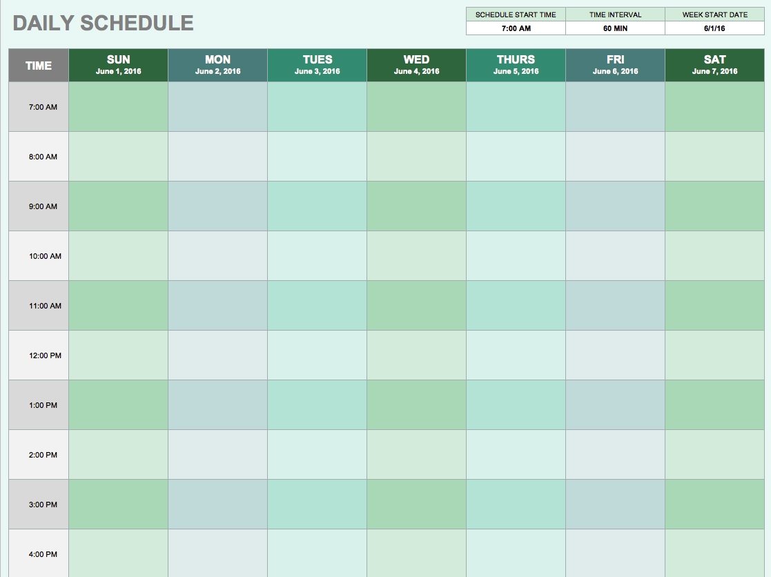 Free Daily Schedule Templates For Excel Smartsheet3abry
