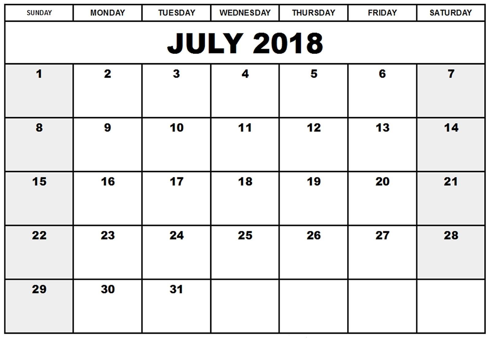 Free July 2018 Calendar Template Targergolden Dragonco  Xjb