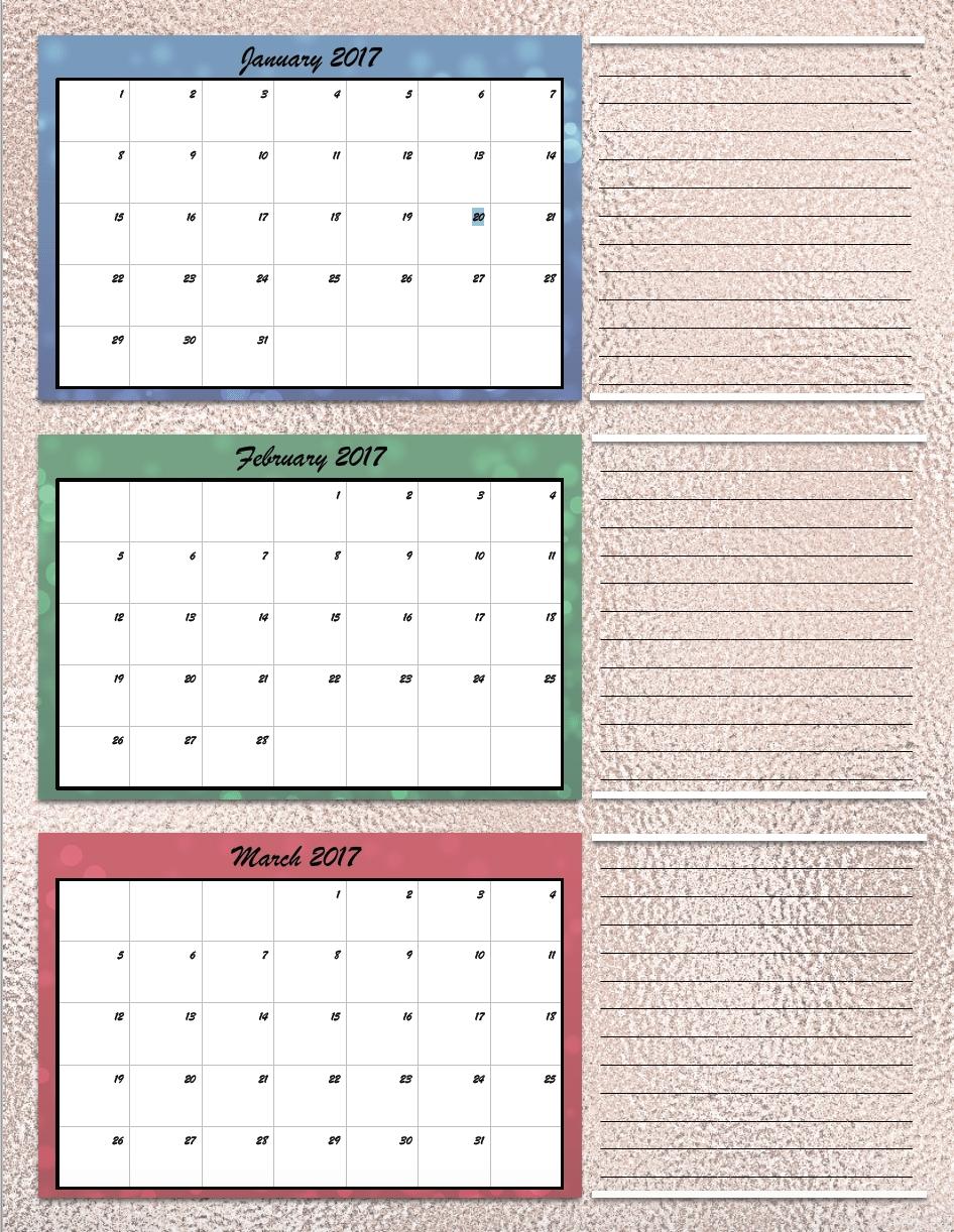 Free Printable 2017 Quarterly Calendars 2 Different Designs3abry