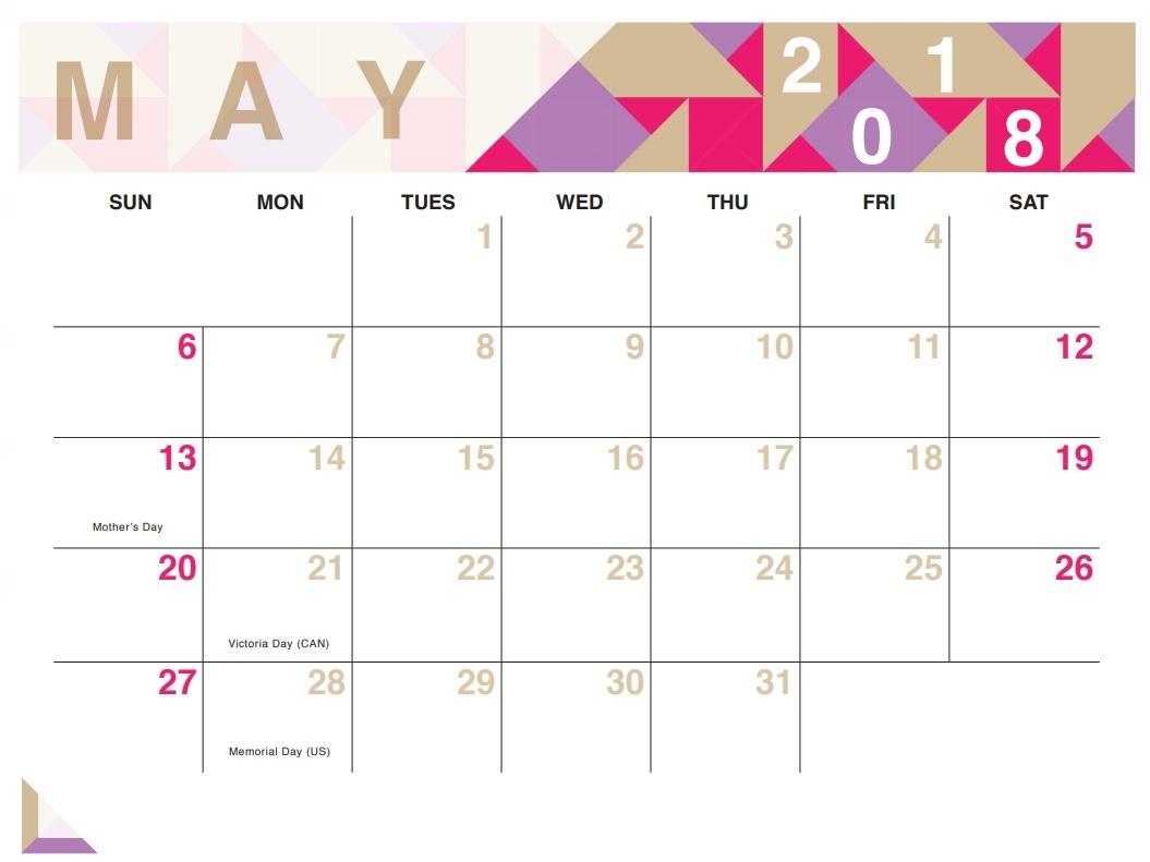 Geometric Free Printable 2018 Calendar Calendar 2018  Xjb