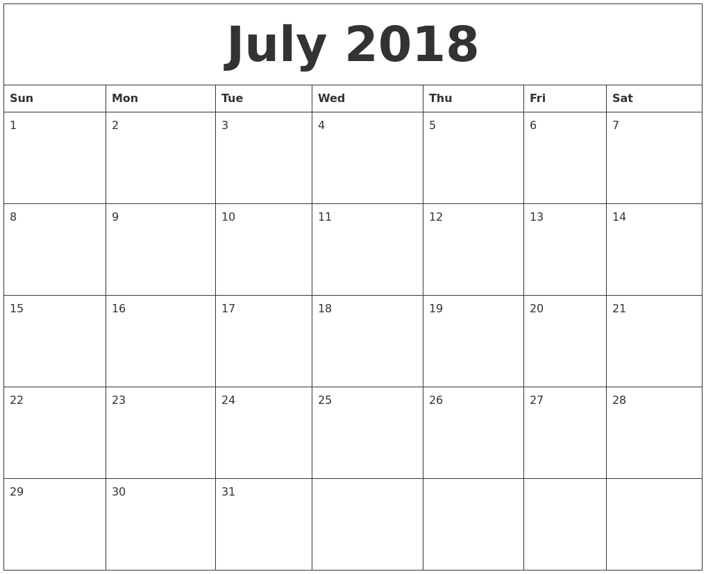 July 2018 Free Printable Calendar Templates  Xjb