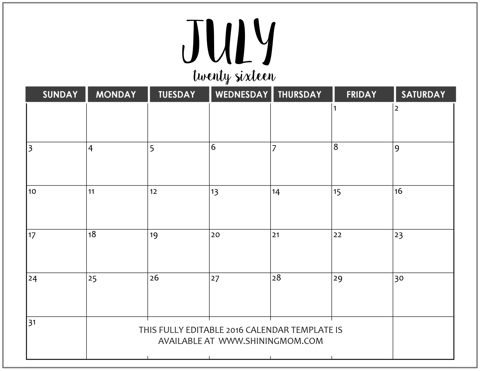 Just In Fully Editable 2016 Calendar Templates In Ms Word Format3abry