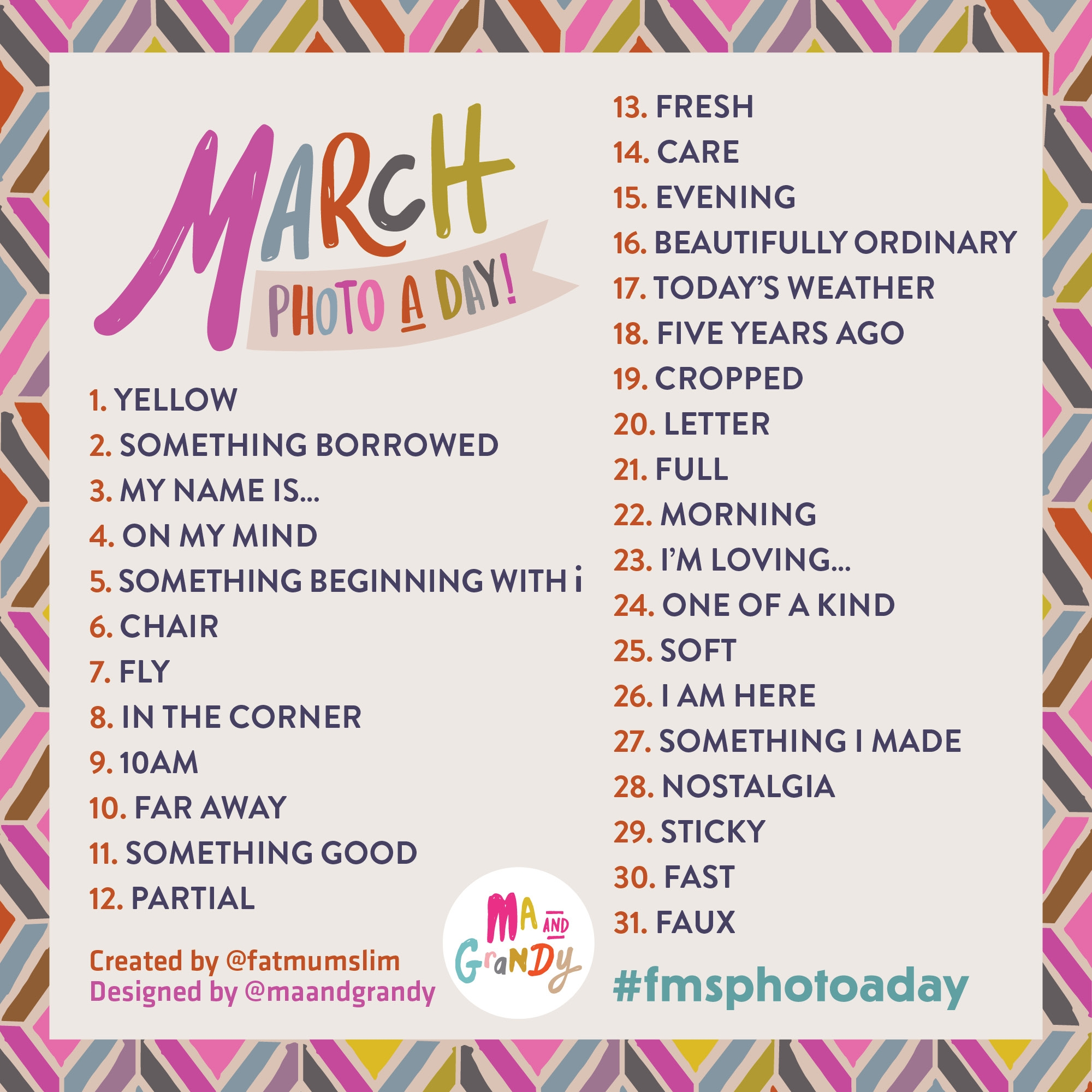 March 2014 Photo A Day List Coll Writes