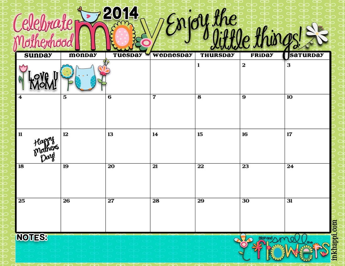 May 2014 Calendar Is Hereenjoy The Little Things Inkhappi  Xjb