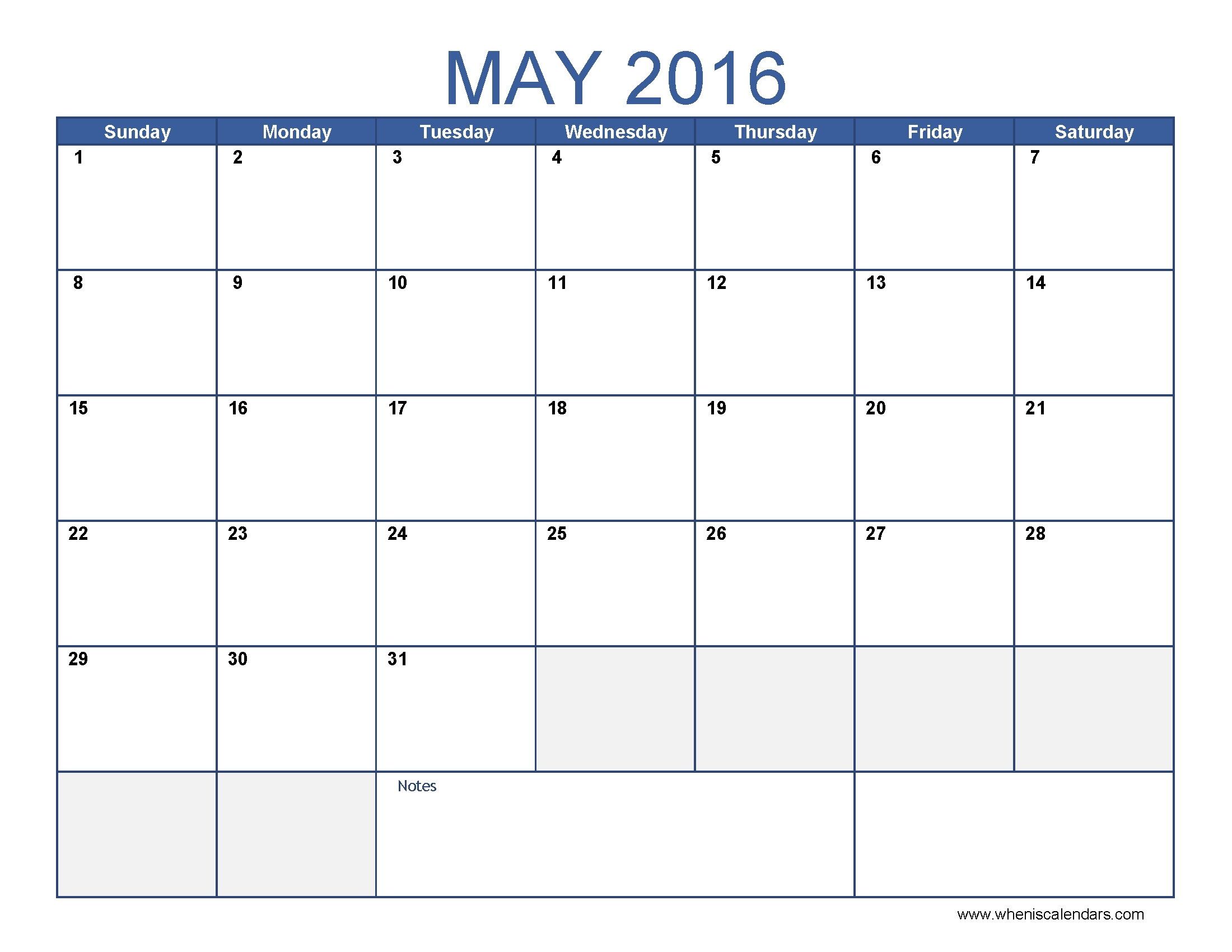 May 2016 Calendar Template Monthly Calendar 2016 Pdf Excel3abry