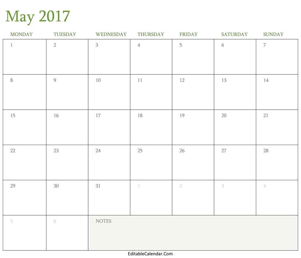 May 2017 Calendar Word Monthly Calendar 20173abry