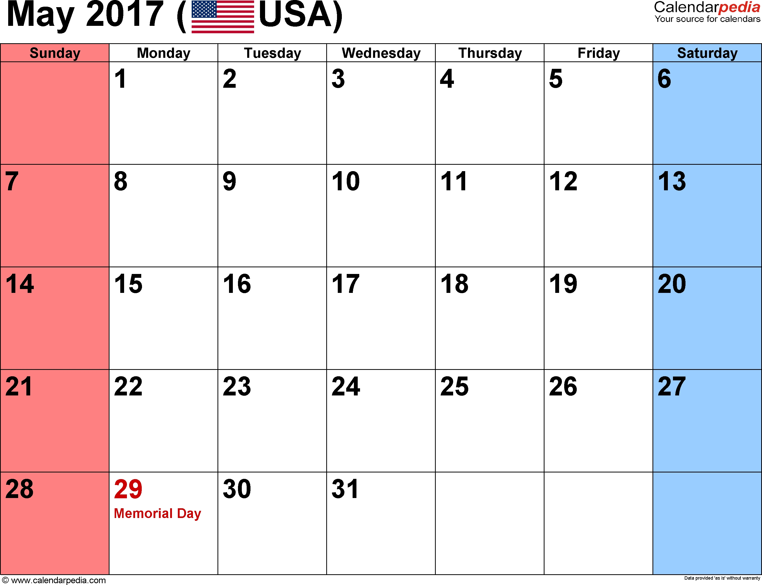 May 2017 Calendars For Word Excel Pdf3abry
