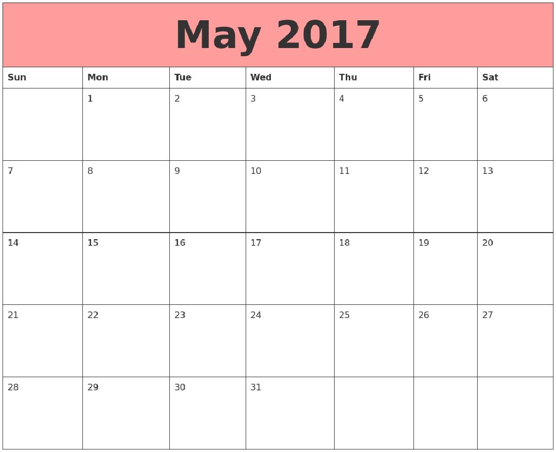 May 2017 Cute Calendar 3 Printable Monthly Calendar  Xjb