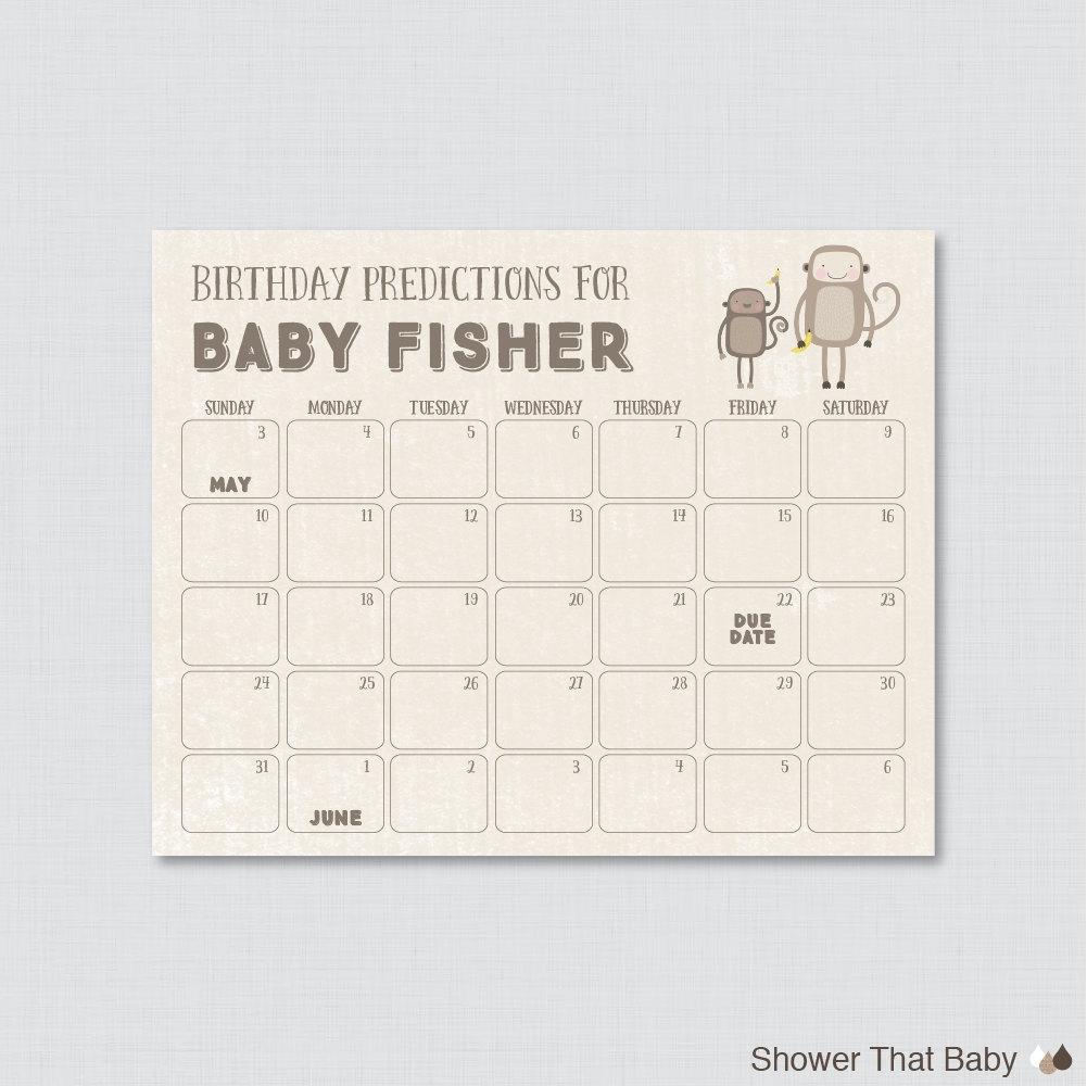 Monkey Ba Shower Birthday Predictions Calendar Printable3abry