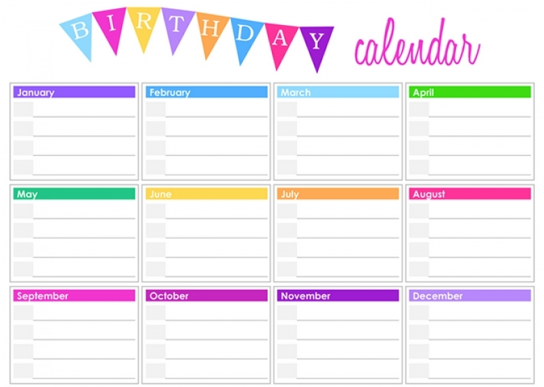 Birthday Calendar Template 2018 : Birthday calendar free printable template
