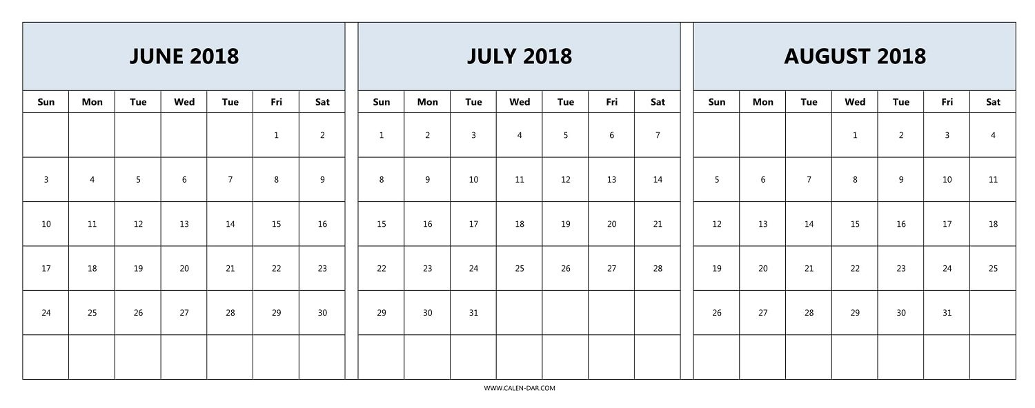 Printable Calendar June July August 2018 Yspages 89uj