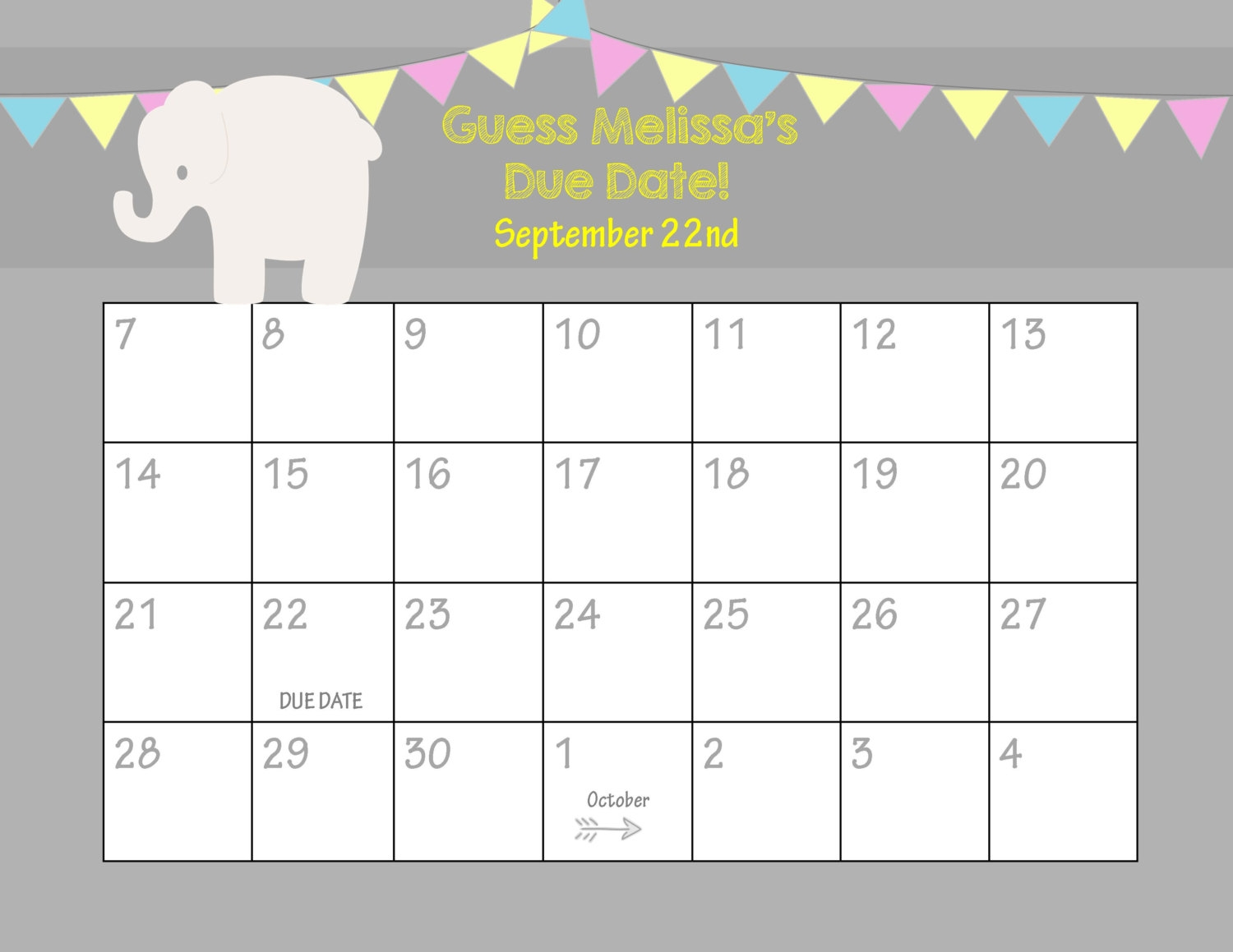 Printable Due Date Calendar Ba Shower Game Guess The3abry