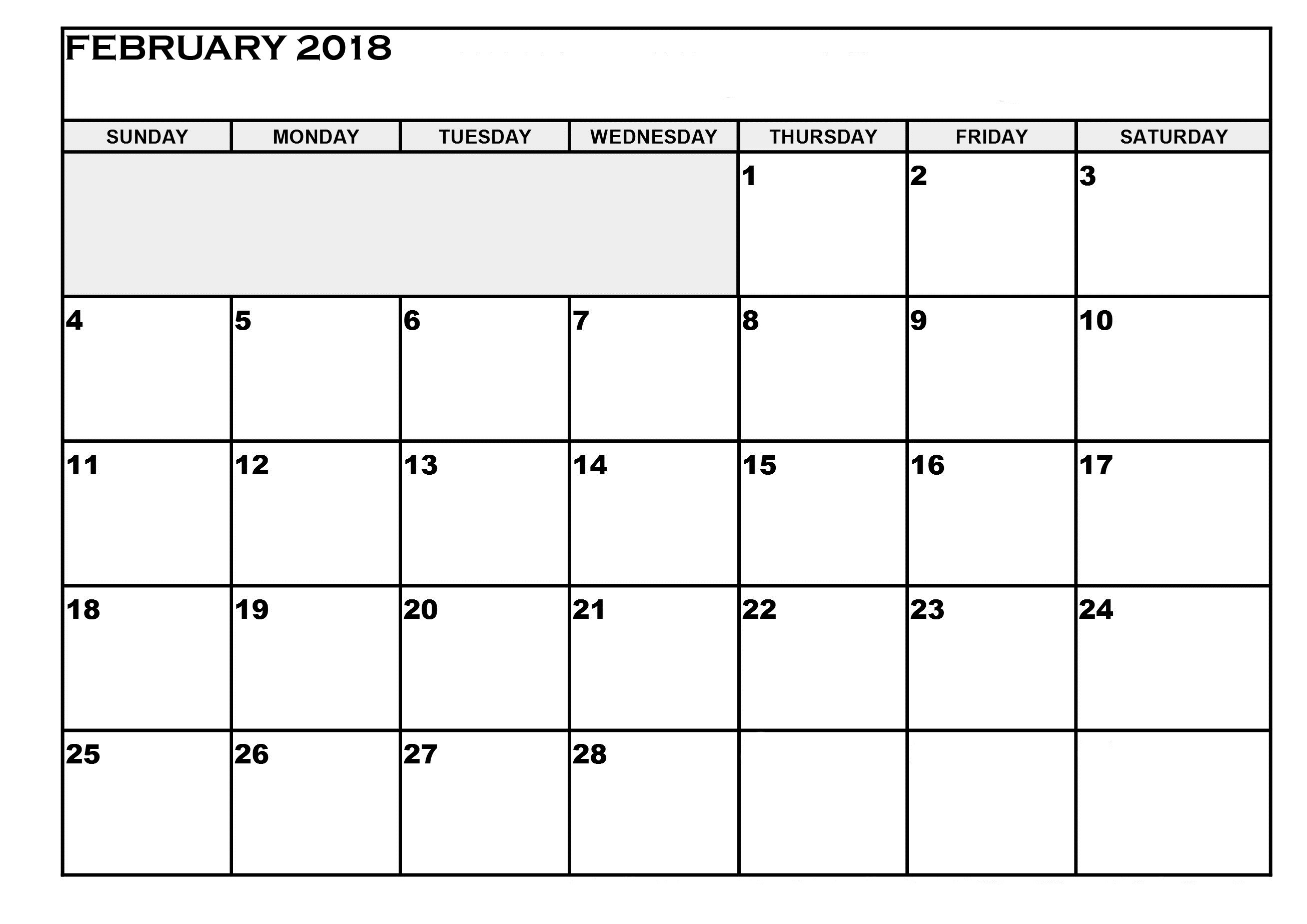 Printable February 2018 Calendar Printable Calendar Template  Xjb