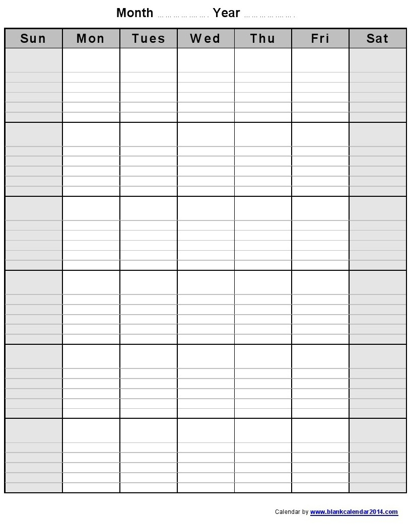 Blank Calendar With Lines : Monthly calendar templates lined free template