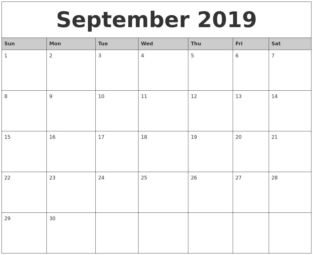 September 2019 Monthly Calendar Printable3abry