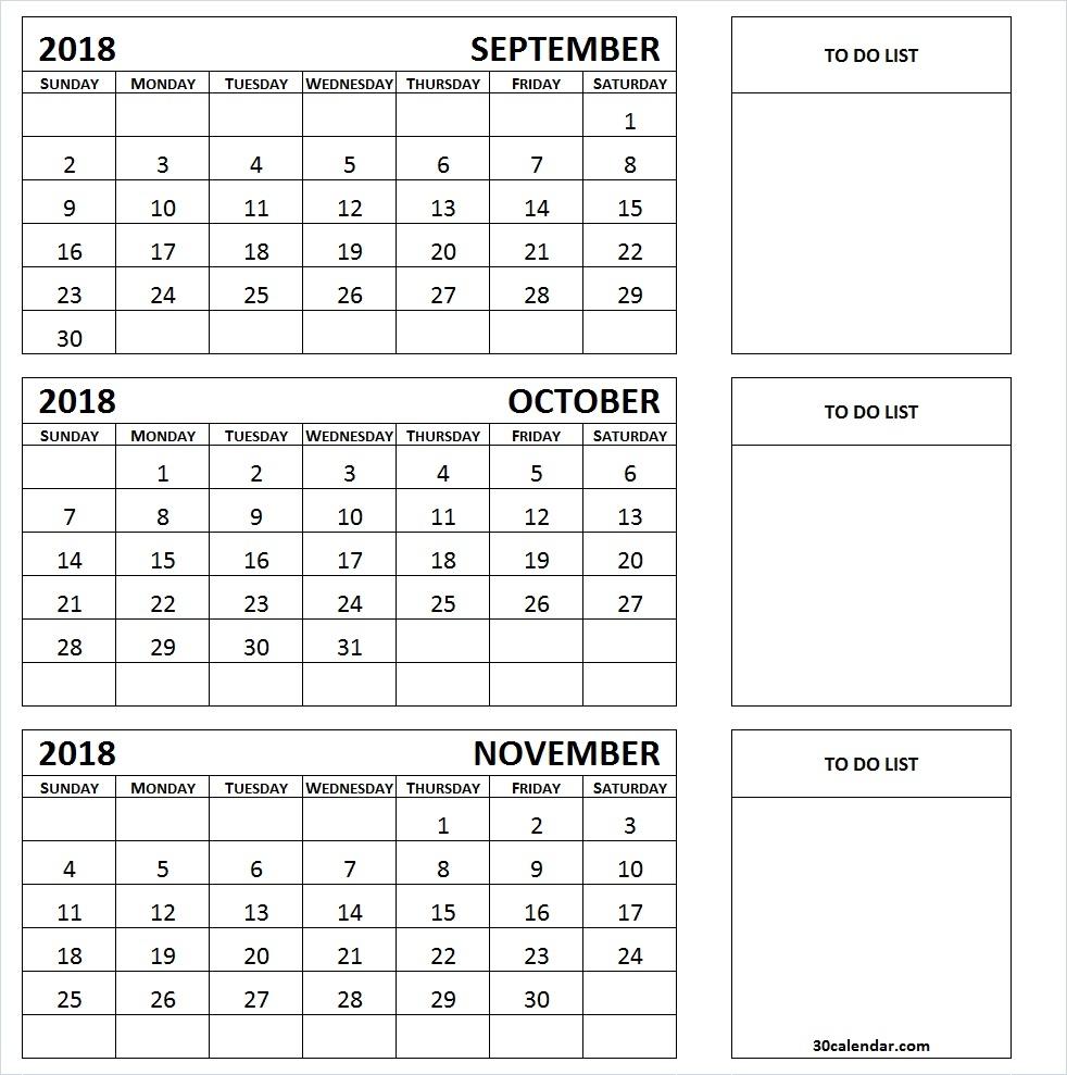 September To November 2018 Calendar 3 Month Calendar Template  Xjb