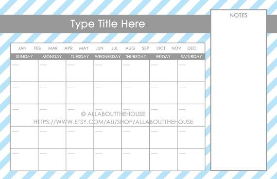 11 X 17 Calendar :-Free Calendar Template