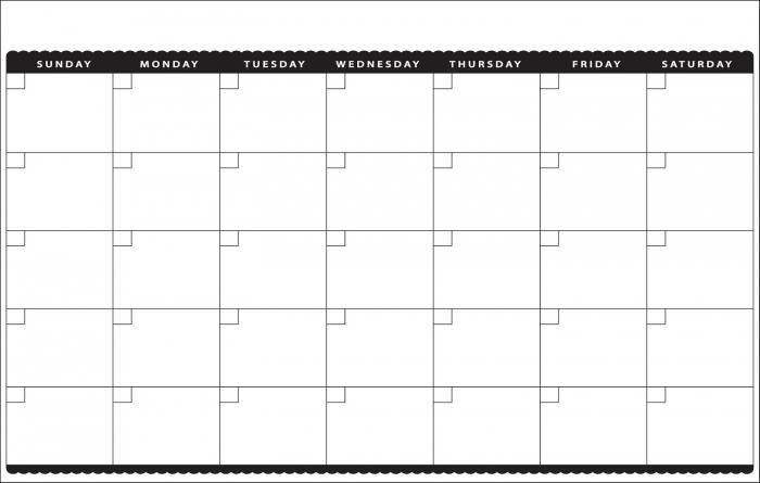 11x17 Monthly Calendar Calendar Printable Template