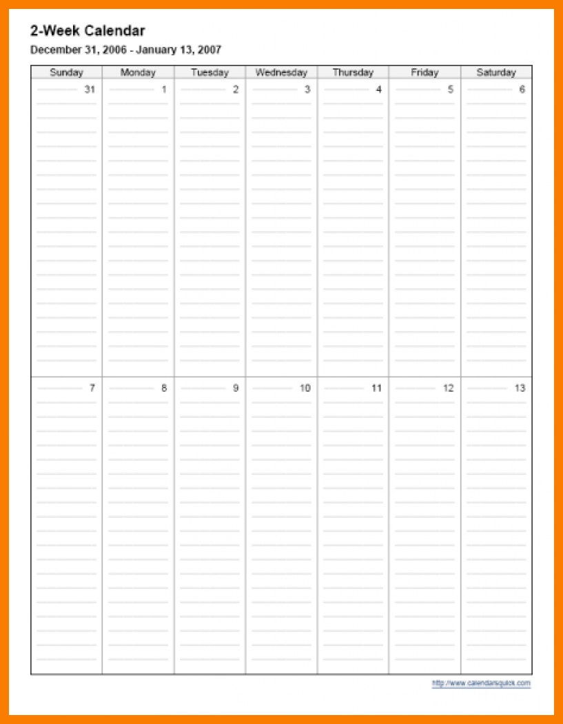 14 Two Week Calendar Template Xavierax3abry