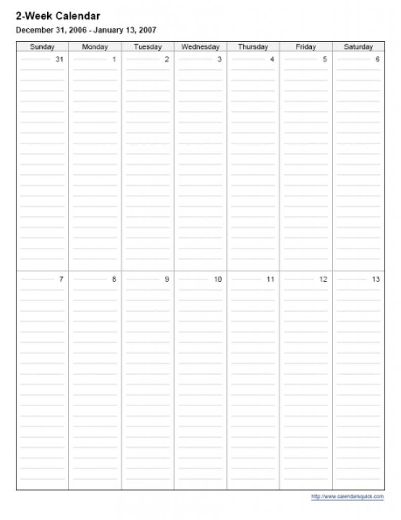 2 Week Calendar Printable Calendar Template 20183abry