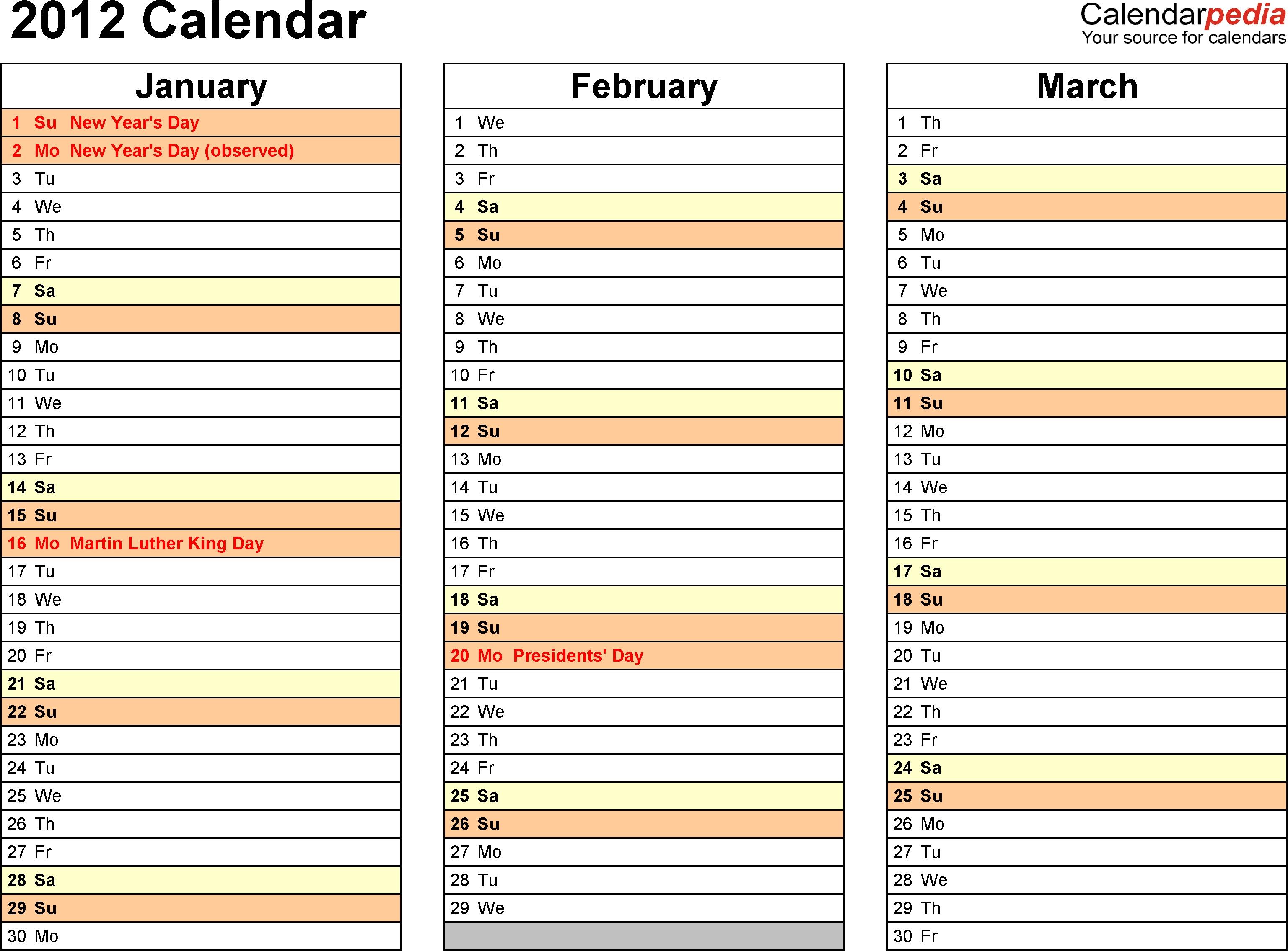 2012 Calendar Word 10 Free Printable Word Templates Docx  Xjb