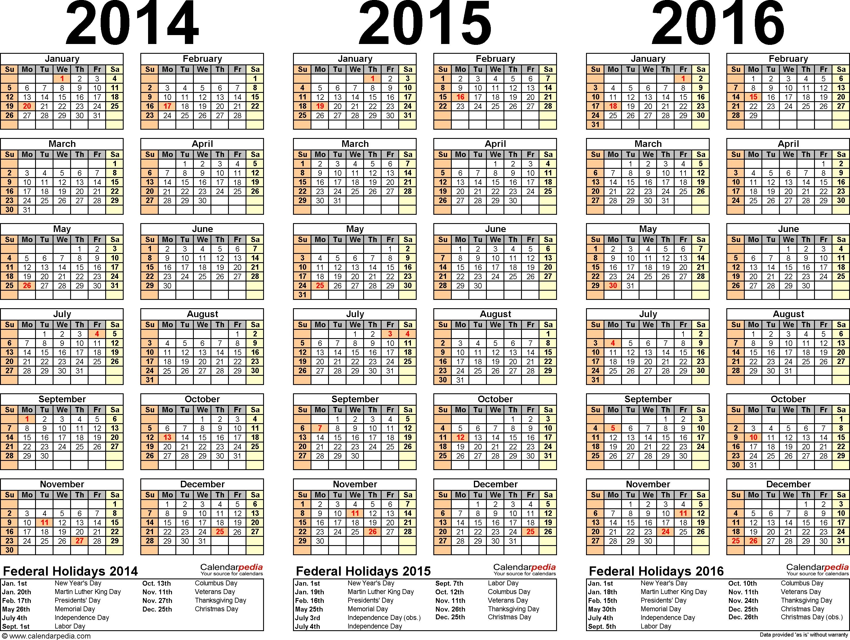201420152016 Calendar 4 Three Year Printable Pdf Calendars