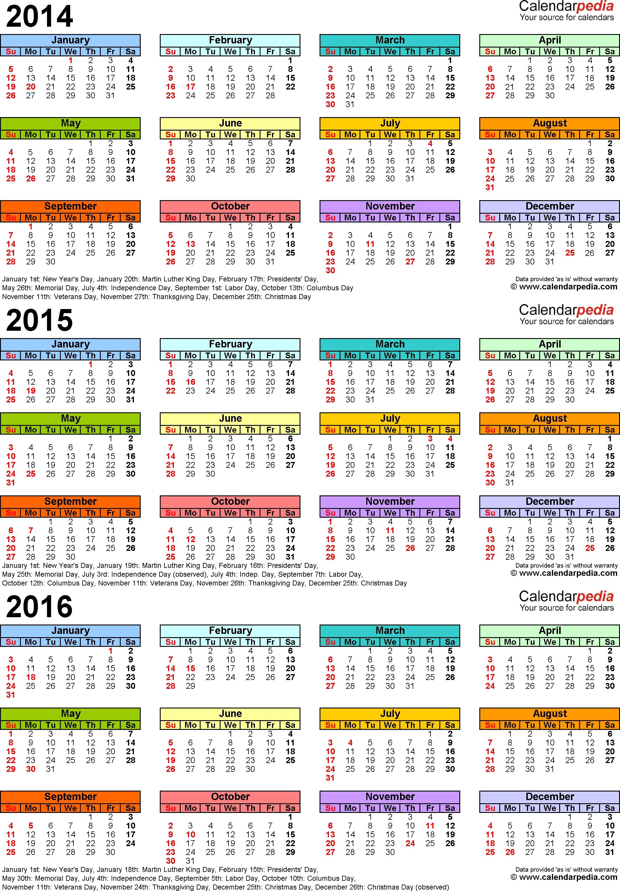 201420152016 Calendar 4 Three Year Printable Word Calendars  Xjb