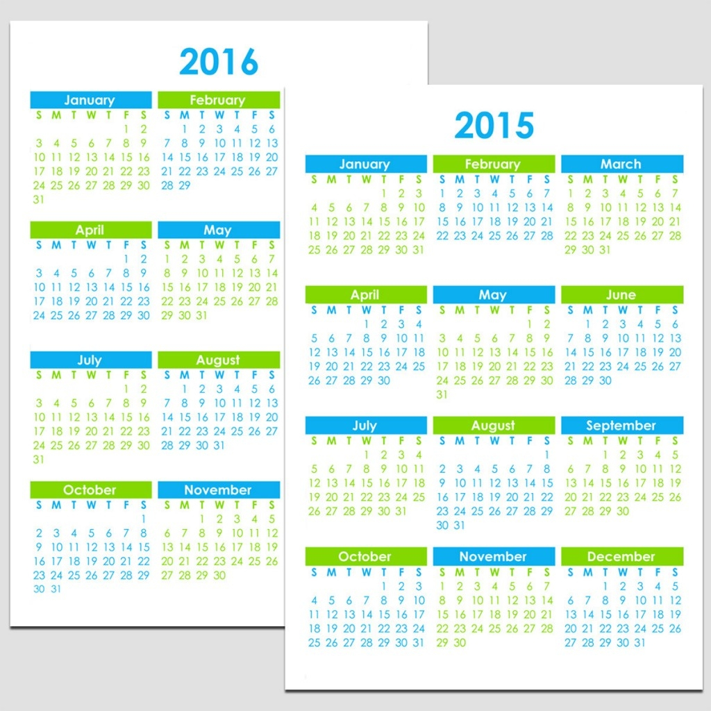 2015 2016 Yearly Calendar 8 12 X 11 Legacy Templates