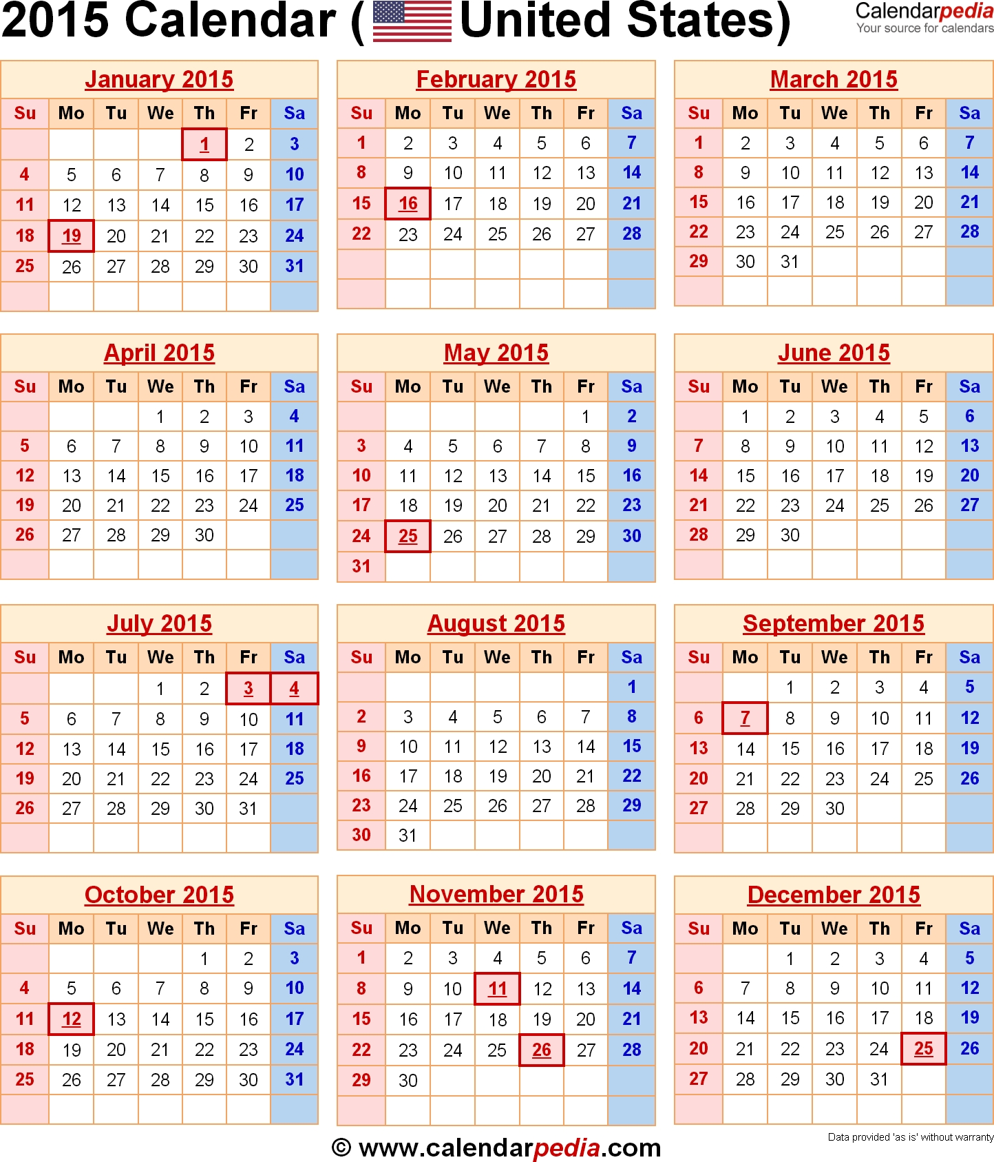 2015 Calendars 2015 Calendar With Federal Holidays Excelpdf