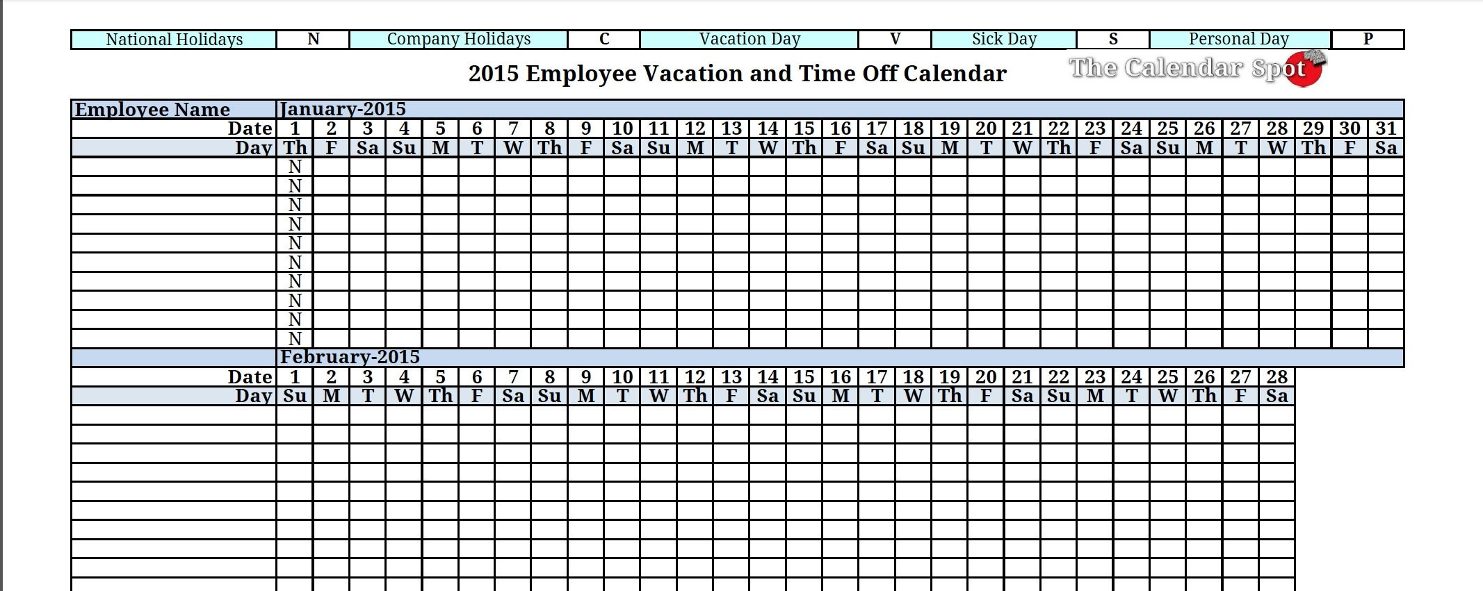 2015 Employee Vacation Absence Tracking Calendar 2015 Printable  Xjb