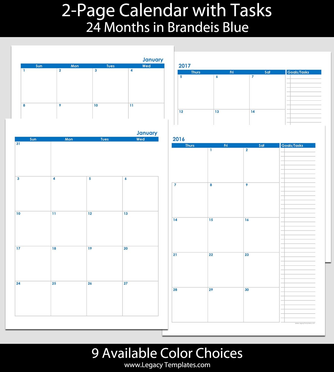 2016 2017 24 Month 2 Page Calendar 8 12 X 11 2016 2017