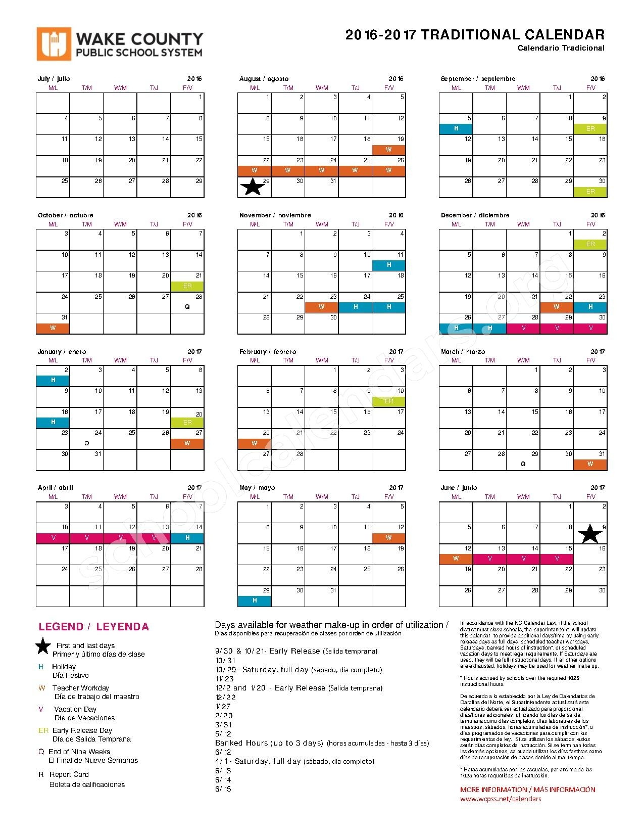 2016 2017 Traditional Calendar Wake County Public School