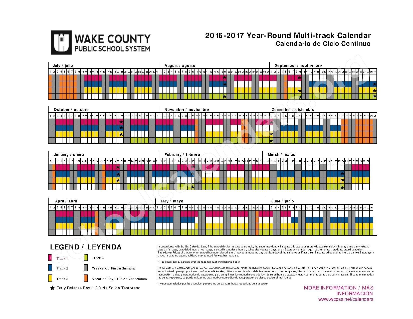 2016 2017 Wake County Year Round Calendar Calendar Template 2017