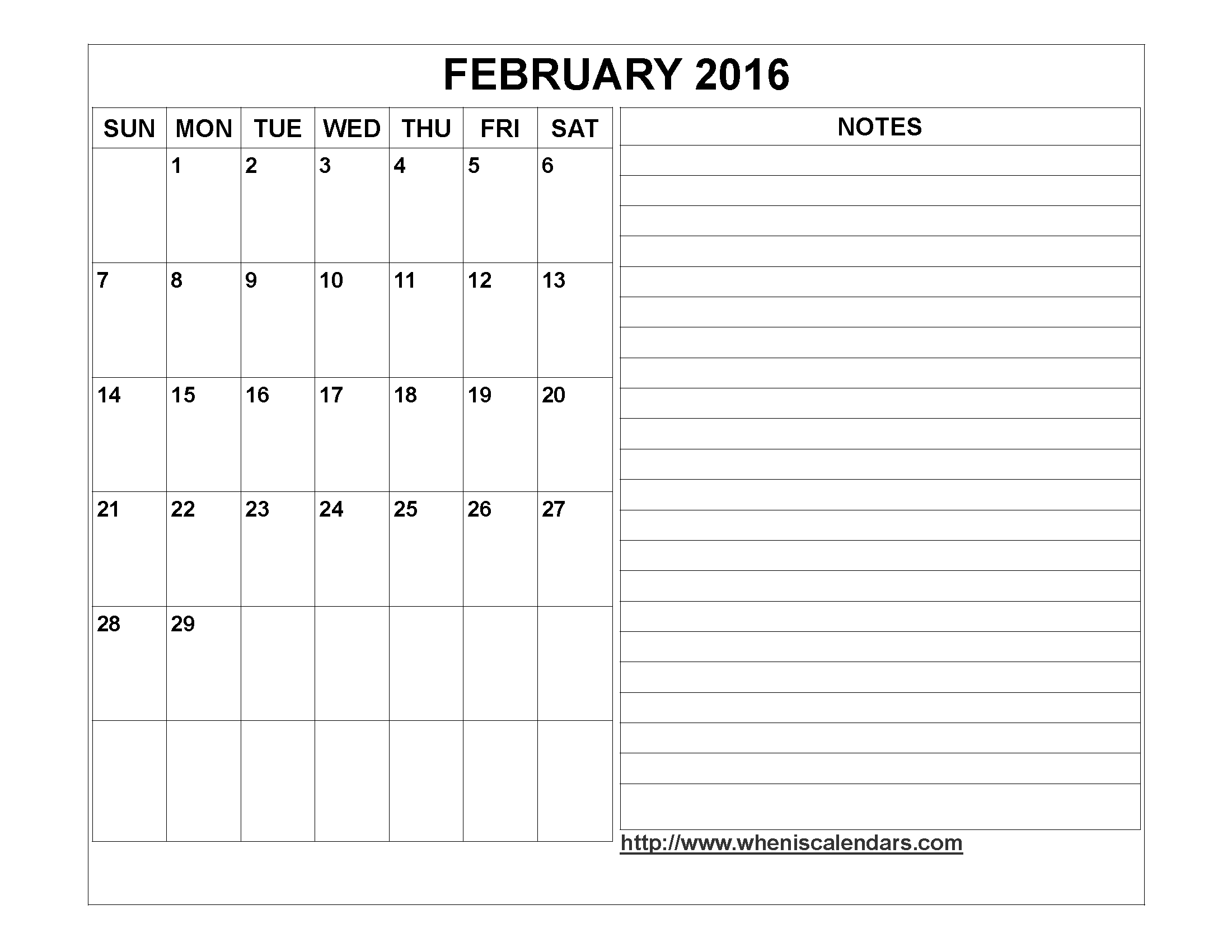 2016 Calendar Template With Notes Section Calendar Template 2018  Xjb