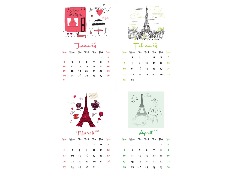 2016 Fashion Printable Calendar Blank Calendar Design 20173abry