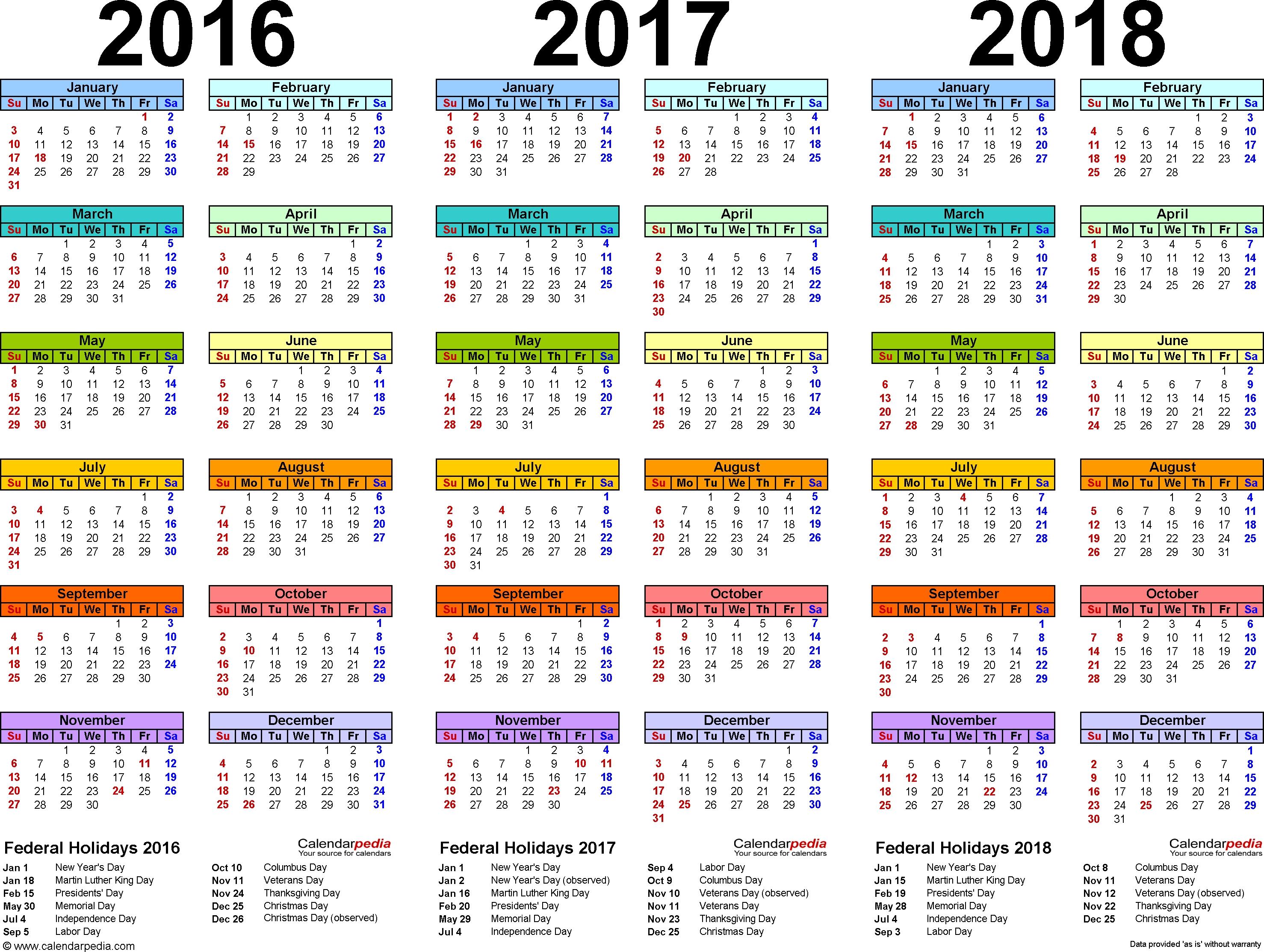 201620172018 Calendar 4 Three Year Printable Pdf Calendars  Xjb