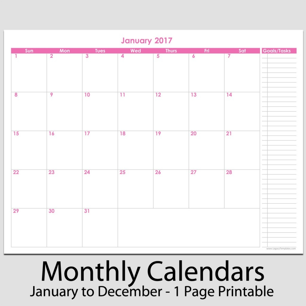 2017 12 Month Calendar With Tasks 8 12 X 11 Legacy Templates3abry