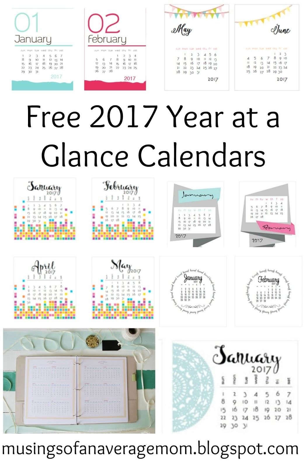 2017 Calendar Printable One Page Calendars Pinterest Free3abry