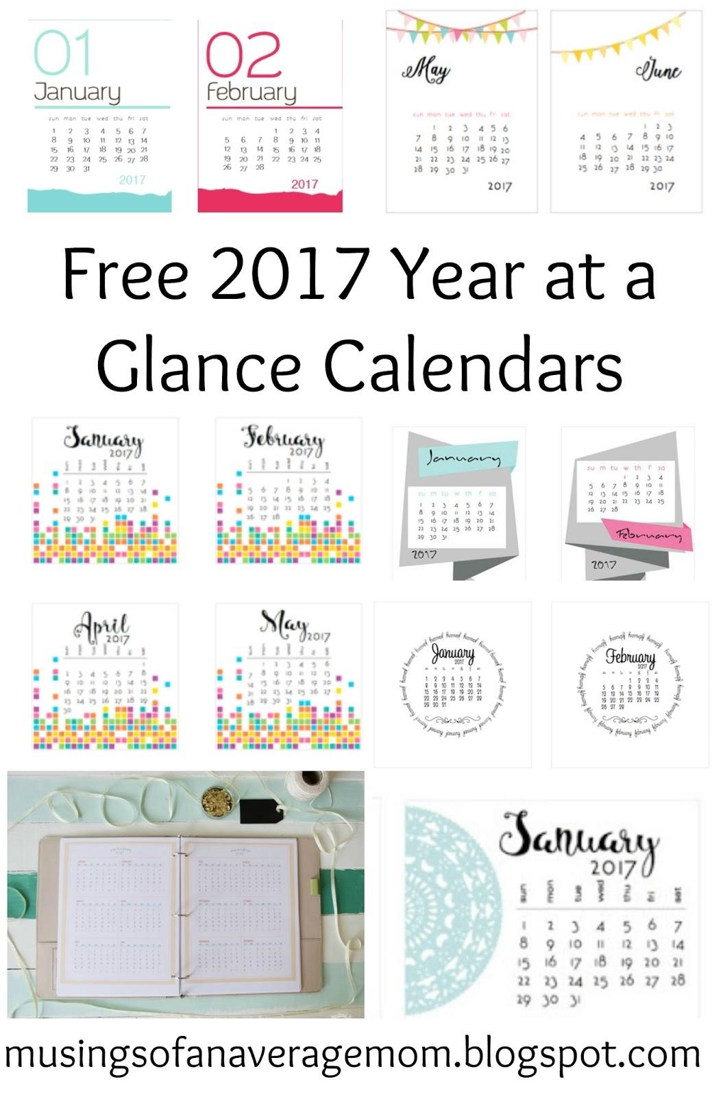 2017 Calendar Printable One Page Calendars Pinterest Free