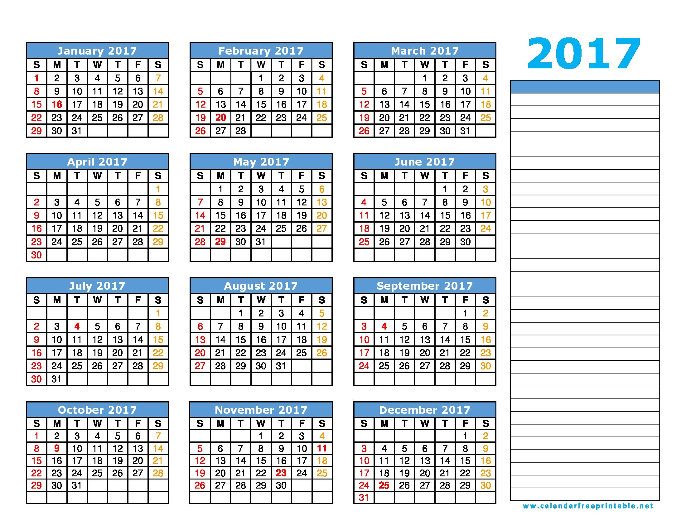 2017 Calendar Printable With Holidays Calendar Free Printable  Xjb